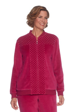 Image: Plus Spliced Diamond Quilt Velour Jacket