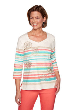 Image: Plus Stripe Medallion Embroidery Top