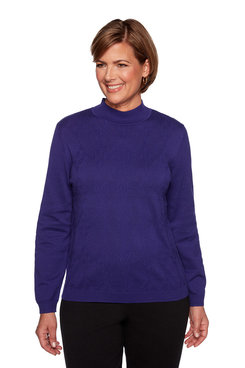 Image: Plus Texture Mock Neck Sweater