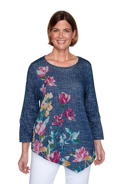 Image: Plus Textured Asymmetric Flowers Top