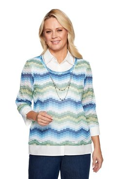 Image: Plus Textured Knit with Woven Trim