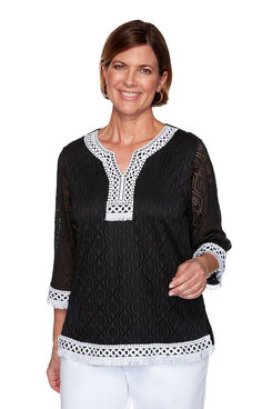 Image: Plus Textured Solid Lace Top