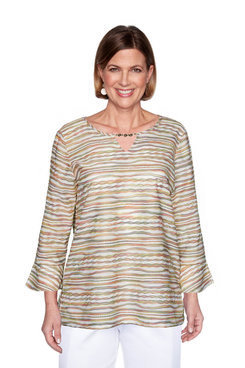 Image: Plus Textured Striped Bell Sleeve Top