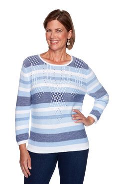 Image: Plus Textured Striped Sweater
