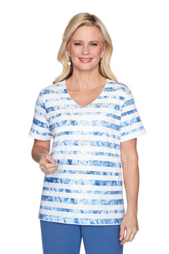 Image: Plus Tie-Dye Striped Short Sleeve Top