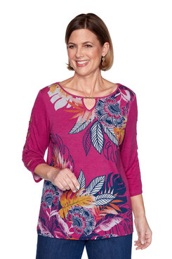 Image: Plus Tropical Batik Print Knit Top