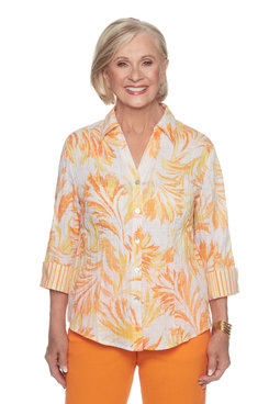 Plus Tropical Woven Top