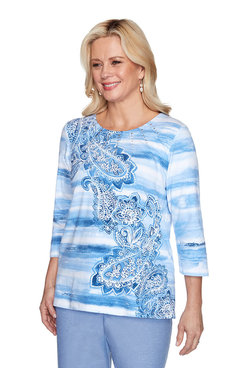 Image: Plus Watercolor Biadere Paisley Top