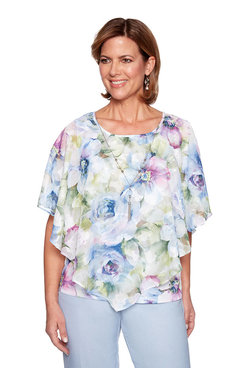 Image: Plus Watercolor Floral Flutter Top