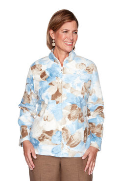 Image: Plus Watercolor Floral Polar Fleece Jacket
