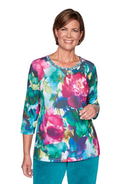 Image: Plus Watercolor Flowers Top