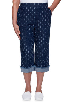 Image: Plus Women's Anchor Print Stretch Denim Capri
