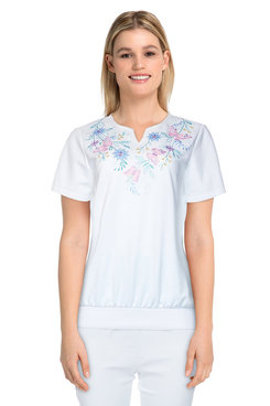 Image: Plus Women's Butterfly Embroidered Short Sleeve Top