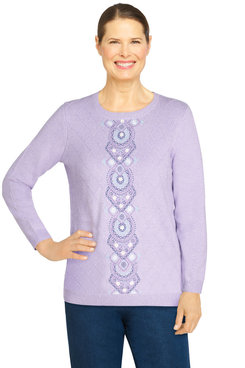 Image: Plus Women's Casual Center Embroidery Sweater