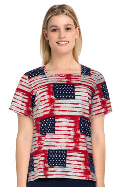 Image: Plus Women's Casual Flag Print Short Sleeve Knit Top