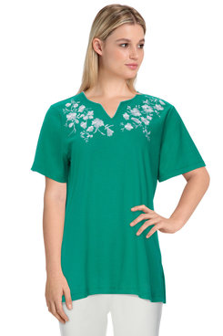 Image: Plus Women's Casual Floral Embroidered Short Sleeve Soft Knit Top