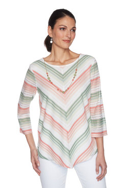 Image: Plus Women's Chevron Striped Body-Lined Top With Necklace