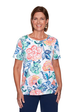 Image: Plus Women's Colorful Floral Print Short Sleeve Top