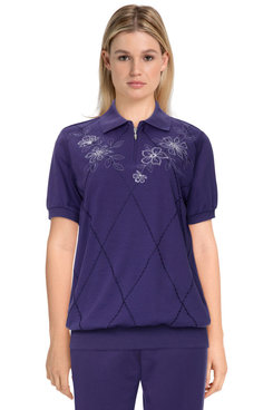 Image: Plus Women's Comfort Floral Embroidered Short Sleeve Soft Knit Top