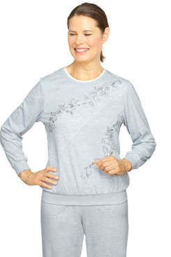 Image: Plus Women's Diagonal Spliced Embroidered Comfort Pullover