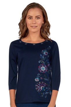 Image: Plus Women's Embellished Floral Embroidered Solid Top