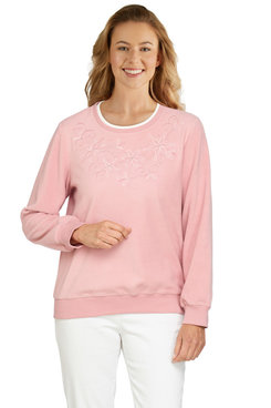 Image: Plus Women's Floral Embroidery Yoke Top