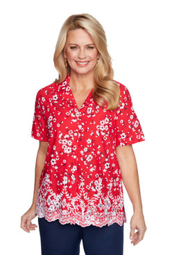 Image: Plus Women's Floral Eyelet Short Sleeve Shirt