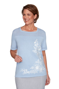Image: Plus Women's Floral Pointelle Short Sleeve Sweater