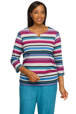 Image: Plus Women's Lightweight Ribbed Knit Striped Print Top