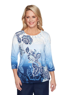 Image: Plus Women's Ombre Floral Print Pintuck Top