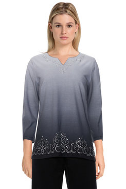 Image: Plus Women's Ombre Soft Knit Embellished Border Top