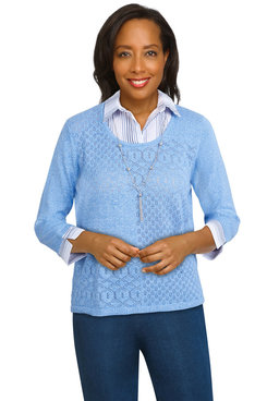 Image: Plus Women's Pointelle Lightweight Sweater With Stripe Woven Details
