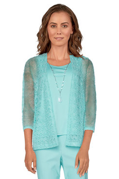 Image: Plus Women's Popcorn Knit Two-For-One Top With Necklace