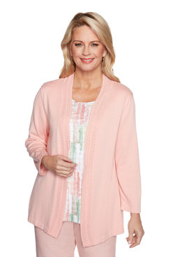 Image: Plus Women's Ruffle Print Two-For-One Sweater