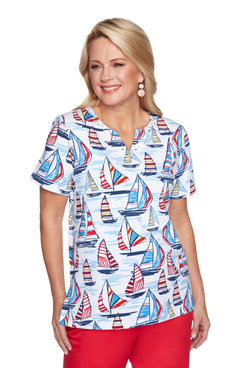Image: Plus Women's Sailboat Print Short Sleeve Top