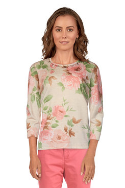 Image: Plus Women's Shimmery Floral Sweater