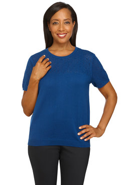 Image: Plus Women's Solid Short Sleeve Sweater