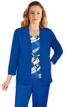 Image: Plus Women's Stained Glass Inner Two-For-One Lightweight Sweater
