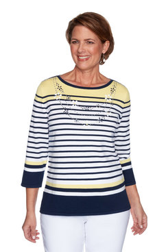 Image: Plus Women's Striped Daisy Embellished Sweater