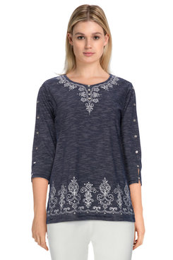 Image: Plus Women's Textured Embroidered Soft Knit Tunic Top