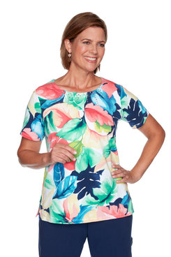 Image: Plus Women's Tropical Leaves Print Short Sleeve Top