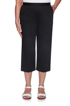 Image: Plus Women's Twill Capri With Button Detail