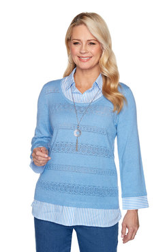 Image: Pointelle Two-for-One Sweater