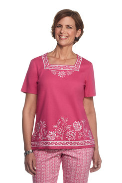Reel It In Plus Embroidered Border Top