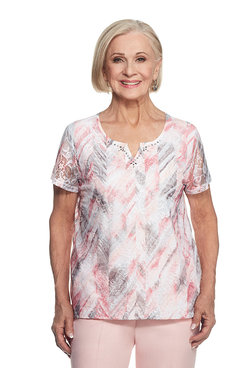 Rose Hill Petite Abstract Floral Lace Top