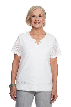 Rose Hill Petite Lace Texture Top