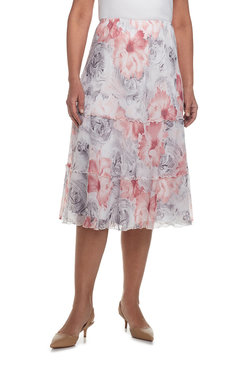 Rose Hill Petite Scroll Floral Tiered Skirt