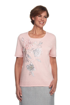 Rose Hill Stencil Floral Applique Pullout Sweater