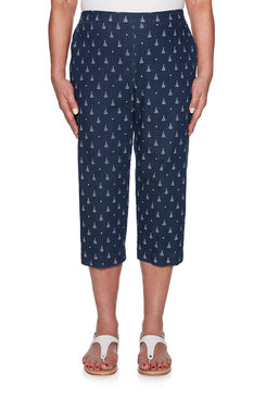 Image: Sailboat Printed Denim Capri