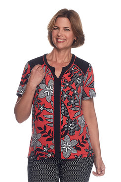 Saratoga Springs Floral Leaf Texture Top